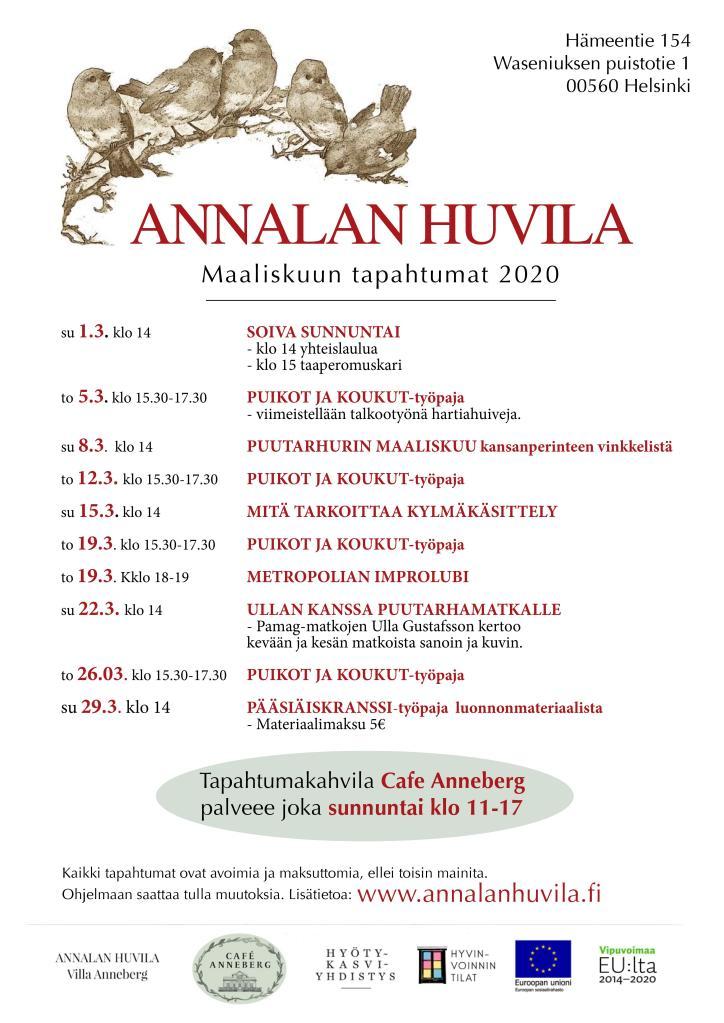 Annalan huvilan maaliskuun 2020 ohjelma